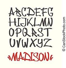 Marker Graffiti Font, handwritten Typography vector illustration