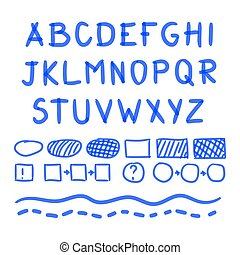 Marker Hand Written Doodle Letters And Mathematical Symbols Vector