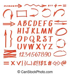Marker hand written symbols. Vector pen line arrows and circles, letters numbers