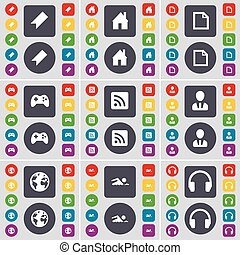Marker, House, File, Gamepad, RSS, Avatar, Globe, Swimmer, Headphones icon symbol. A large set of flat, colored buttons for your design. Vector