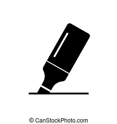 marker icon, vector illustration, black sign on isolated background