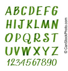Marker letters and numbers. Vector hand written alphabet or calligraphic font