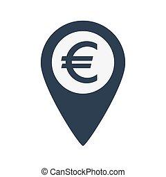 Marker location icon Euro sign