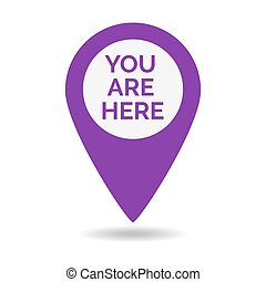 Marker location icon with you are here. Vector illustration