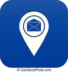 Marker location with envelope sign icon digital blue