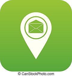 Marker location with envelope sign icon digital green