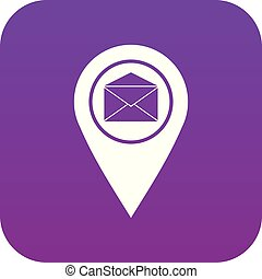 Marker location with envelope sign icon digital purple