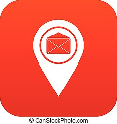 Marker location with envelope sign icon digital red