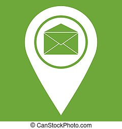 Marker location with envelope sign icon green
