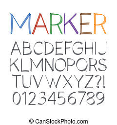 Marker Pen Font and Numbers