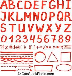 Marker pen red hand written elements