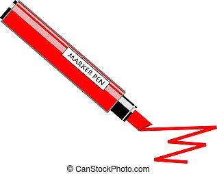 Marker Pen - Red marker pen drawing