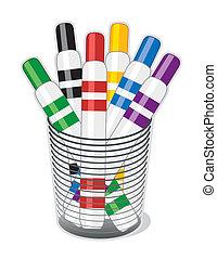 Marker Pens - Felt tip marker pens in a desk organizer for ...