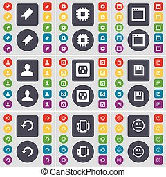 Marker, Processor, Window, Avatar, Socket, Floppy, Reload, Smartphone, Smile icon symbol. A large set of flat, colored buttons for your design. Vector