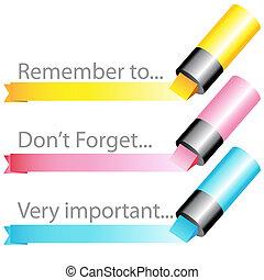 marker, sæt, highlighter, bånd