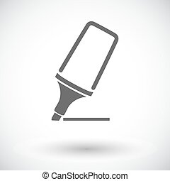 Marker. Single flat icon on white background. Vector ...