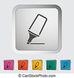 Marker. Single icon. Vector illustration..