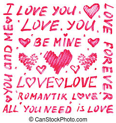 Marker text for Valentine's day or wedding