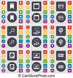 Marker, Window, Credit card, Magnifying glass, PC, Lollipop, Hard drive, Laptop, Sell icon symbol. A large set of flat, colored buttons for your design. Vector