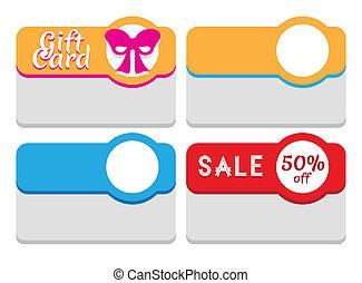 markeringen, etiketten, mal, kaarten, stickers, of