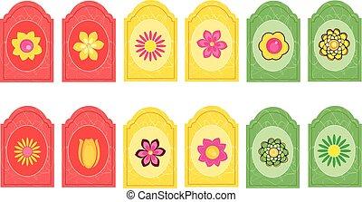 markeringen, met, bloemen, 2