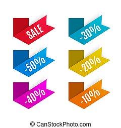 markeringen, product, ineengevouwen , paper., etiketten, korting, vector., stickers., promotion.