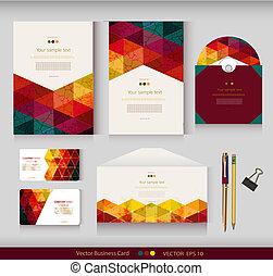 markeringen, vector, identity., zakelijk, clamp., enveloppe, pattern., verpakking, kaarten, schijf, plek, potloden, tekst, geometrisch, collectief, jouw, templates.