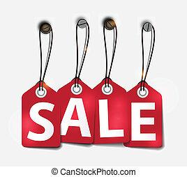 markeringen, vector, verkoop, illustratie, rood