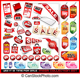 markeringen, verkoop, set, verzameling, mega