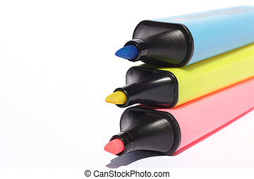 blue, pink and yellow markers
