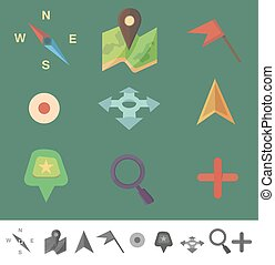 markers to map. Flat colored icons