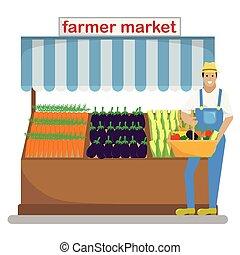 market., 농부, 야채, 과일, 농부, 바구니