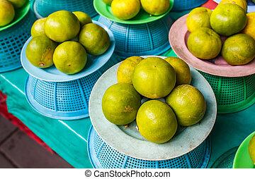 market., 단구간의, 레몬