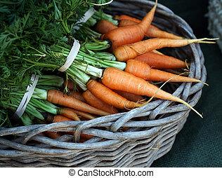 market:, agriculteurs, carottes