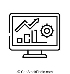 Market analysis line icon, concept sign, outline vector illustration, linear symbol.