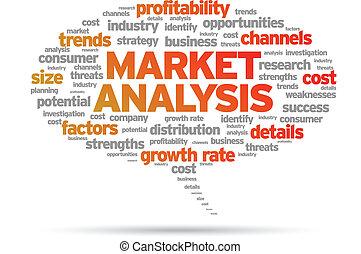 Market Analysis speech bubble illustration on white background.
