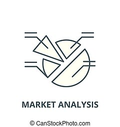 Market analysis vector line icon, linear concept, outline sign, symbol