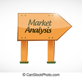 market analysis wood sign concept illustration
