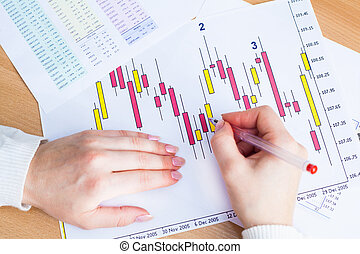Market Analyze - Image of female hand pointing at business...
