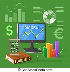 Market and Economics Cartoon Illustration on Green - Market...