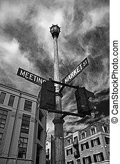 Market and Meeting Streets in Charleston South Carolina.. To...