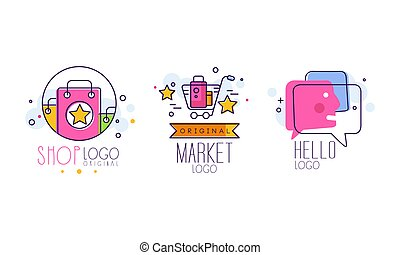 Market and Shop Logo Design with Shopping Cart and Purchase Bag Vector Set