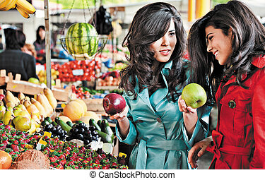 market apples shopping friends