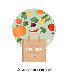 Market bag and vegetables icons