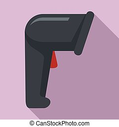 Market barcode scanner icon, flat style