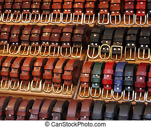 market belts - Display of leather belts at a market stall in...