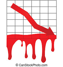 Concept illustration showing a downward arrow in a graph bleeding, to illustrate the collapse of the economic markets.
