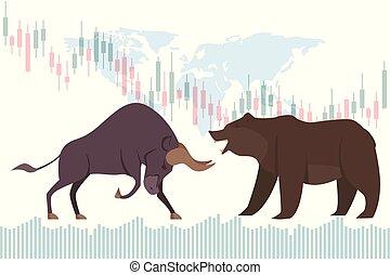 market., business, bullish, tendance, concept., bearish, marché, stockage