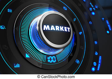 Market Button with Glowing Blue Lights.