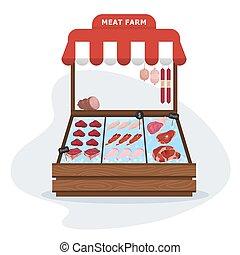 market., cerdo, carne, granja, comida., sano, fresco, carne de vaca